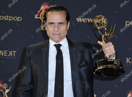 """Maurice Benard in the press room with the award for outstanding lead actor in a drama series for """"General Hospital"""" at the 46th annual Daytime Emmy Awards in Pasadena, Calif. Benard was supposed to devote time in April to traveling and promoting his new best-selling book, """"Nothing General About It: How Love (And Lithium) Saved Me On and Off General Hospital."""" Those plans changed thanks to the breakout of COVID-19. Benard, who is bipolar, says being in quarantine can affect people with mental illness because their routine is affected. The Daytime Emmy Award winner says he's experienced anxiety from being stuck at home"""