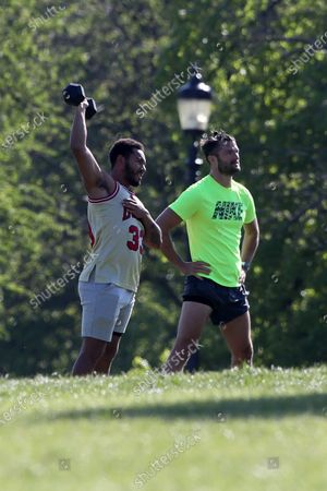Josh Denzel and Jon Hosking working out in Primrose Hill