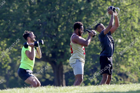 Wes Nelson, Josh Denzel and Jon Hosking working out in Primrose Hill