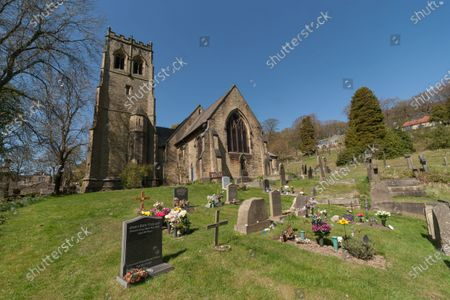 Stock Photo of St John's Parish Church near Holmfirth in West Yorkshire. Last of the Summer Wine actors Bill Owen and Peter Sallis are buried here in adjacent plots.