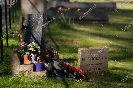 Stock Picture of The grave of actor Bill Owen MBE, who was best known for playing 'Compo' in Last of the Summer Wine. He is buried in St John's Church in Upperthong next to his friend Peter Sallis, who played 'Clegg'.