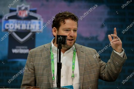 Seattle Seahawks executive vice president and general manager John Schneider speaks during a press conference at the NFL football scouting combine in Indianapolis. The NFL Draft is April 23-25