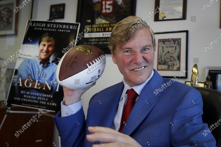 Stock Picture of Agent Leigh Steinberg poses for a picture at his office in Newport Beach, Calif. Steinberg and his agency represent 12 NFL draft-eligible players, including a pair of first-round prospects: Alabama's Tua Tagovailoa and Jerry Jeudy