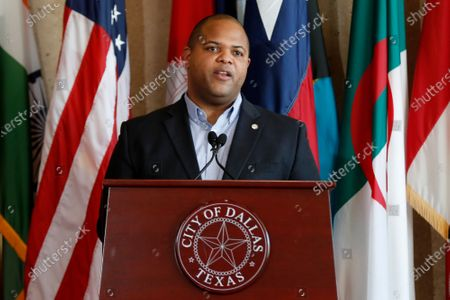 Mayor Eric Johnson responds to questions during a news conference at City Hall to discuss the latest developments amid the coronavirus crisis in Dallas