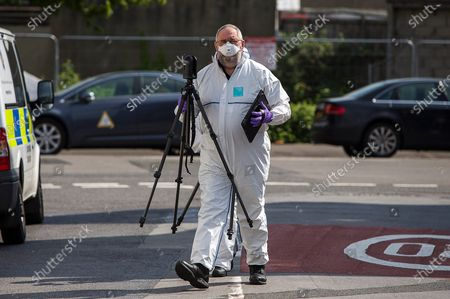 Editorial photo of Police investigation, Cardiff, Wales, UK - 23 Apr 2020