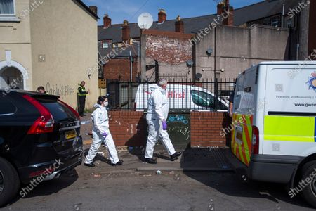 Stock Picture of Forensics at the scene and a large police presence on St Vincent Road, Newport. Officers have been at the cordoned off side alley from the early hours of the morning.