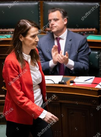 Stock Image of Belgian Prime Minister Sophie Wilmes and Minister of Social Fraud, Privacy, the North Sea, Telecommunication and Administrative Simplification Philippe De Backer pictured during a plenary session of the chamber at the federal parliament, in Brussels, Thursday 23 April 2020.