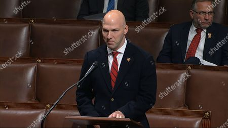 In this image from video, Rep. Anthony Gonzalez, R-Ohio, speaks on the floor of the House of Representatives at the U.S. Capitol in Washington