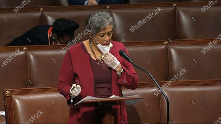 In this image from video, Rep. Brenda Lawrence, D-Mich., speaks on the floor of the House of Representatives at the U.S. Capitol in Washington