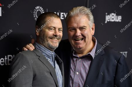"""Nick Offerman, left, and Jim O'Heir arrive at the """"Parks and Recreation"""" 10th anniversary reunion during the 36th annual PaleyFest in Los Angeles. Five years after audiences said goodbye to the show, the cast will reunite for NBC and Universal Television's all-original """"A Parks and Recreation Special"""" to benefit Feeding America. The special is set to air Thursday, April 30"""
