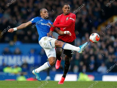 Odion Ighalo of Manchester United and Djibril Sidibe of Everton