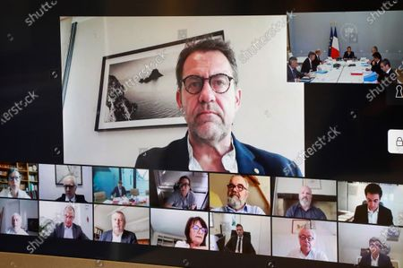 Editorial photo of Videoconference with companies in the hotel and commercial catering sector, Paris, France - 24 Apr 2020