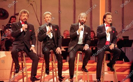 The Statler Brothers, from left, Harold Reid, Phil Balsley, Don Reid, and Jimmy Fortune, perform in Nashville, Tenn. Harold Reid, who sang bass for the Grammy-winning country group The Statler Brothers, died, after a long battle with kidney failure. He was 80