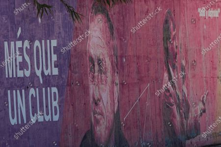Stock Photo of A graffiti in one of the walls of the Johan Cruyff stadium in Barcelona, Spain, 25 April 2020. Johan Cruyff, Dutch soccer legend, passed away on 24 March 2016 and  would have turned 73 years old today.