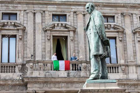 Editorial picture of Milan Mayor sings popular protest song Bella ciao to mark Italy's 75th Liberation Day, Milan, Italy - 25 Apr 2020