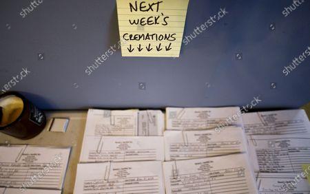Editorial image of Funeral Home in New York's Elmurst Neighborhood Deals With Coronavirus, Queens, USA - 26 Apr 2020