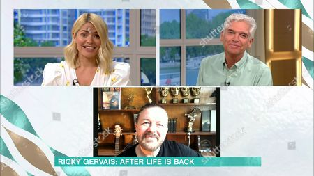 Holly Willoughby and Phillip Schofield and Ricky Gervais