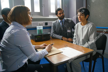 Ep 10059 Friday 8th May 2020 The police interview Yasmeen Metcalfe, as played by Shelley King. Imran Habeeb, as played by Charlie de Melo, watches as a bewildered and upset Yasmeen is charged.