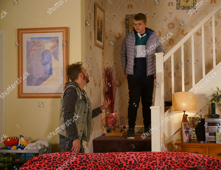 Ep 10059 Friday 8th May 2020 Max Turner, as played by Harry McDermott, shows his disappointment that David Platt, as played by Jack P Shepherd, didn't show up for his speech.
