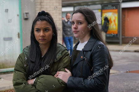 Ep 10058 Wednesday 6th May 2020 As Asha Alahan, as played by Tanisha Gorey, Amy Barlow, as played by Elle Mulvaney, and Dev Alahan head to the Community Centre, a couple of lads start pointing at Asha. Nina clocks them from outside the cafe, heads over and punches one of the lads on the nose.