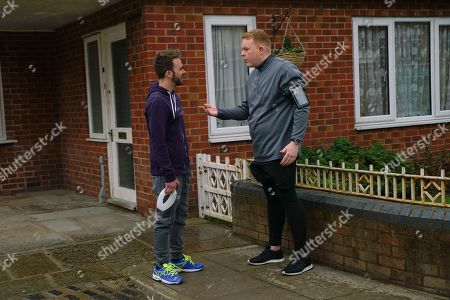 Ep 10062 Friday 15th May 2020 Craig Tinker, as played by Colson Smith, suggests to David Platt, as played by Jack P Shepherd, they go for a run together, David wishes he could get out of it.
