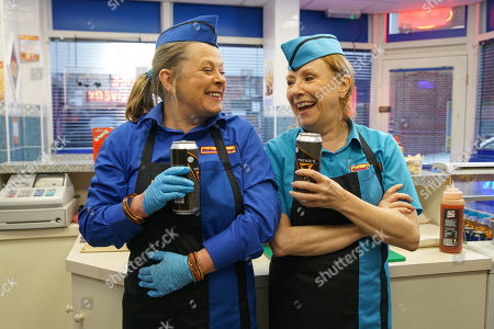 Ep 10061 Wednesday 13th May 2020 In the kebab shop, Cathy Natthews, as played by Melanie Hill, and Bernie Winters, as played by Jane Hazlegrove, bury the hatchet and Bernie agrees to knuckle down. Pulling out some cans of cider, Bernie offers one to Cathy who takes it.