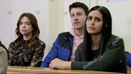 Ep 10060 Monday 11th May 2020 Yasmeen Metcalfe attends her bail hearing, watched by Toyah Battersby, as played by Georgia Taylor, Ryan Connor, as played by Ryan Prescott, and Alya Nazir, as played by Sair Khan.