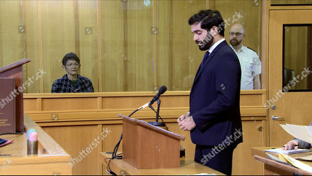 Ep 10060 Monday 11th May 2020 Yasmeen Metcalfe, as played by Shelley King, attends her bail hearing, with her lawyer Imran Habeeb, as played by Charlie de Melo.