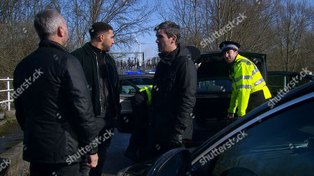 Ep 8785 Monday 4th May 2020 On a country road, Cain Dingle, as played by Jeff Hordley, and Billy, as played by Jay Kontzle, are alarmed to see that there is a police car trying to pull them over. They soon realise it is Malone, as played by Mark Womack, and the chase is over. Billy and Cain's eyes glare into Malone's as they realise they've been set-up...