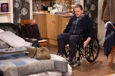 Stock Photo of Ep 8785 Monday 4th May 2020 Dan Spencer's, as played by Liam Fox, adamant he doesn't need any help from Lady Amelia Spencer, but when he falls out of his wheelchair it's soon clear he's been set back further.