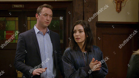 Stock Image of Ep 8783 Wednesday 29th April 2020 Leanna Cavanagh is pleased to later cause a further rift between Leyla Harding, as played by Rokhsaneh Ghawam-Shahidi, and Liam Cavanagh, as played by Johnny McPherson.