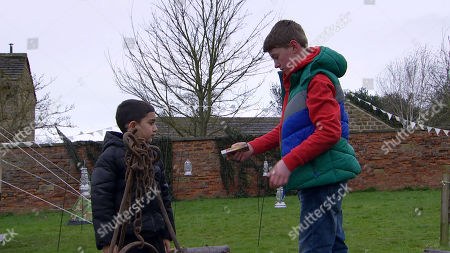 Stock Picture of Ep 8787 Friday 8th May 2020 Things turn dangerous when the campfire is left ready to light with only Arthur Thomas, as played by Alfie Clarke, and Archie Breckle, as played by Kai Assi, present....