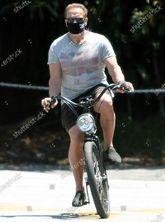 Editorial photo of Arnold Schwarzenegger, Katherine Schwarzenegger and Chris Pratt out and about, Los Angeles, California, USA - 26 Apr 2020