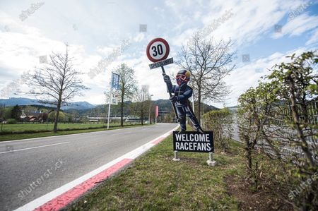 A sign reading 'Welcome Racefans' at the Red Bull Ring circuit in Spielberg, Austria, 27 April 2020. Formula 1 Group CEO Chase Carey posted a statement on the Formula 1 website on 27 April 2020 saying that the series is targeting to start the season by the beginning of July with the Austrian Grand Prix in Spielberg on 3-5 July being the first race. Due to the ongoing pandemic of the COVID-19 disease caused by the SARS-CoV-2 coronavirus the races are planned to take place without spectators.