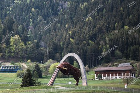 A general view of the bull steel sculpture of the Red Bull Ring circuit in Spielberg, Austria, 27 April 2020. Formula 1 Group CEO Chase Carey posted a statement on the Formula 1 website on 27 April 2020 saying that the series is targeting to start the season by the beginning of July with the Austrian Grand Prix in Spielberg on 3-5 July being the first race. Due to the ongoing pandemic of the COVID-19 disease caused by the SARS-CoV-2 coronavirus the races are planned to take place without spectators.