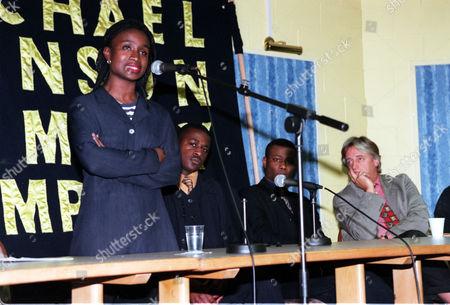 Michael Menson Murder Anniversary Meeting. Essie Menson Speaking About Her Brothers Murder With Her Brothers (l-r) Daniel Menson Kwesi Menson And Mike Mansfield Qc.