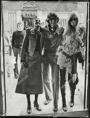 Yves Saint Laurent Fashion Designer With Friends Betty Catroux (r) And Louise De La Falaise (l) In The Doorway Of Their New New Bond Street Premises.