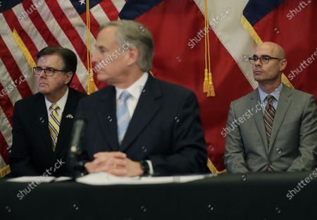 Lt. Gov. Dan Patrick, left, and Texas House Speaker Dennis Bonnen, right, sit behind Texas Gov. Greg Abbott, center, during a news conference where the governor announced he would relax some restrictions imposed on businesses due to the COVID-19 pandemic, in Austin, Texas