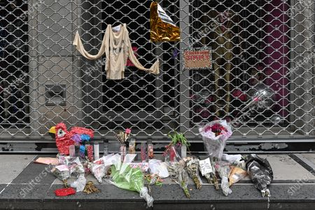 Stock Photo of A memorial for Jimmy Webb outside the I Need More Rock and Roll store in New York. Jimmy Webb, longtime manager of the iconic East Village clothing store Trash and Vaudeville and notable fixture in the downtown New York City rock scene, passed away at the age of 62.
