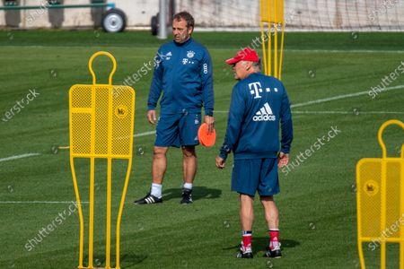 Head coach Hansi Flick (Bayern) and assistant coach Hermann Gerland