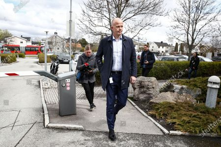 Tom Hagen's lawyer Svein Holden at the police station at Lillestrom, Norway, 28 April 2020. Tom Hagen was arrested in a police action in Lorenskog, his wife has been missing for a year and a half.