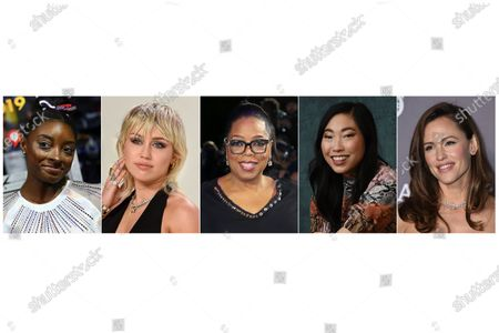 "This combination photo shows, from left, U.S. gymnast Simone Biles, actress-singer Miley Cyrus, media mogul Oprah Winfrey, actress Awkwafina and actress Jennifer Garner, who will participate in the Class of 2020 multi-hour graduation streaming event on Facebook and Instagram on May 15. Winfrey will be the commencement speaker and Awkwafina, Garner, Biles, along with rapper Lil Nas X, will offer words of wisdom to the graduating class. Cyrus will sing her new hit single, ""The Climb"
