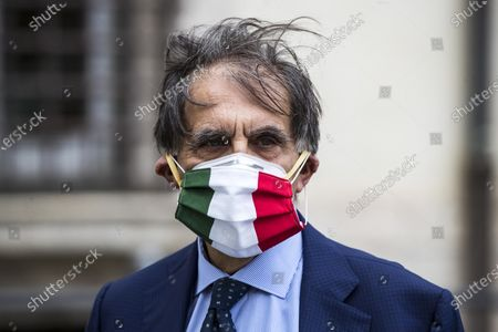 Ignazio La Russa of the Fratelli d'Italia (FdI) party with FdI parliamentarians demonstrates against the Italian government in front of the Chigi Palace in Rome, Italy, 28 April 2020. The Italian government announced a gradual lifting of the lockdown restrictions that were implemented to stem the widespread of the SARS-CoV-2 coronavirus that causes the COVID-19 disease, reports state. From 04 May 2020 on, the country's population will be again allowed access to parks and gardens, and to move around their own regions, among others; more restrictions are set to be lifted on 18 May and 01 June 2020.