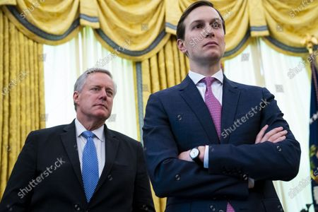 Mark Meadows, Assistant to the President and Chief of Staff, left, stands with Jared Kushner, Assistant to the President and Senior Advisor, right, as United States President Donald J. Trump makes remarks as he meets with Governor Ron DeSantis (Republican of Florida) and Dr. Deborah L. Birx, White House Coronavirus Response Coordinator, White House coronavirus response coordinator, in the Oval Office of the White House in Washington, DC,.