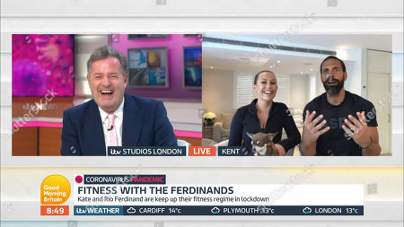 Piers Morgan and Rio Ferdinand and Kate Ferdinand