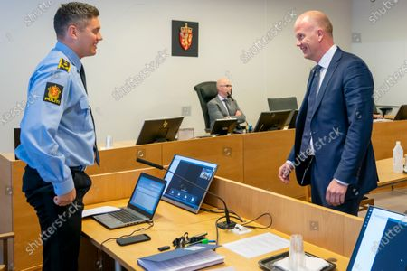 Tom Hagens defender Svein Holden (R) and police lawyer Mathias Hager (L)  in the courtroom before Tom Hagen's detention hearing in the District Court in Lorenskog, Norway, 29 April 2020. Norwegian businessman Hagen was arrested the day before and charged with murder or complicity in the murder of his wife Anne-Elisabeth Hagen who has been missing for a year and a half.