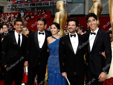 From left, actor Madhur Mittal, actor Irrfan Khan, actress Freida Pinto, actor Anil Kapoor and actor Dev Patel arrive for the 81st Academy Awards in Los Angeles. Khan, a veteran character actor in Bollywood movies and one of India's best-known exports to Hollywood, died, after being admitted to Mumbai's Kokilaben Dhirubhai Ambani hospital with a colon infection. He was 54