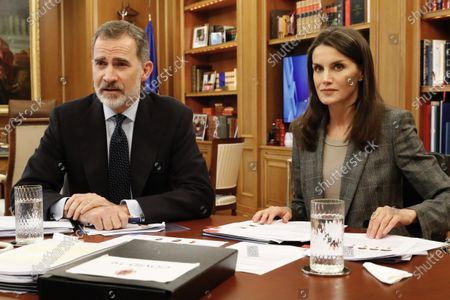 King Felipe VI of Spain, Queen Letizia of Spain attends videoconference with major national and international leaders in Spanish society such as Rafa Nadal, Isabel Coixet, Antonio Banderas, Maria Blasco, Valentin Fuster, Edurne Pasaban, Fernando Alons