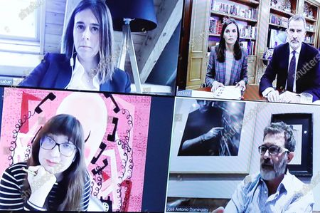 Stock Photo of King Felipe VI of Spain, Queen Letizia of Spain attends videoconference with major national and international leaders in Spanish society such as Rafa Nadal, Isabel Coixet, Antonio Banderas, Maria Blasco, Valentin Fuster, Edurne Pasaban, Fernando Alons