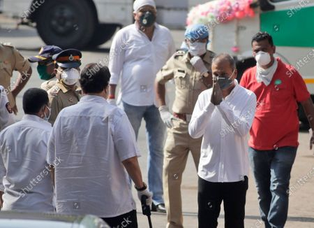 Reliance Group Chairman Anil Ambani arrives for the funeral of actor Rishi Kapoor in Mumbai, India, . Top Indian actor Rishi Kapoor, a scion of Bollywood's most famous Kapoor family, has died. He was 67 and had leukemia